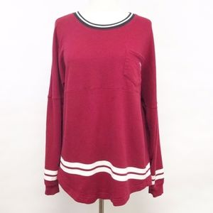 pink | red long sleeve pull-over stripe jersey top